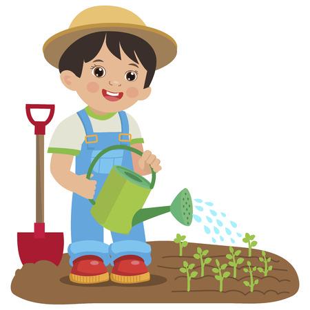 Netter Karikaturjunge mit Gießkanne. Junger Bauer, Der Im Garten arbeitet. Bunte einfache Design-Vektor. Gartenarbeit im Frühling. Gartenbewässerung Vektor-Illustration. Vektorgrafik