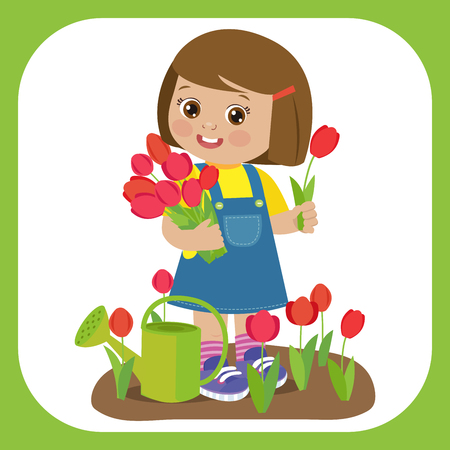 Cute Cartoon Girl With Flower Bouquets Vector. Young Farmer Girl With Tulip Bouquet In The Garden. Colorful Simple Design Vector. Spring Gardening Vector Illustration.  イラスト・ベクター素材