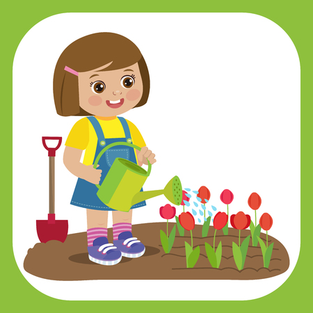 Cute Cartoon Girl With Watering Can Working In Garden. Young Farmer Girl Watering Tulip Flowers. Colorful Simple Design Vector. Spring Gardening Vector Illustration.  イラスト・ベクター素材