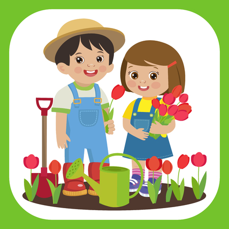 Cute Cartoon Girl And Boy Working In The Garden Vector Illustration. Girl With Watering Can, Boy With A Shovel Vector. Spring Gardening. Cute Cartoon Girl With Flower Bouquets Vector.