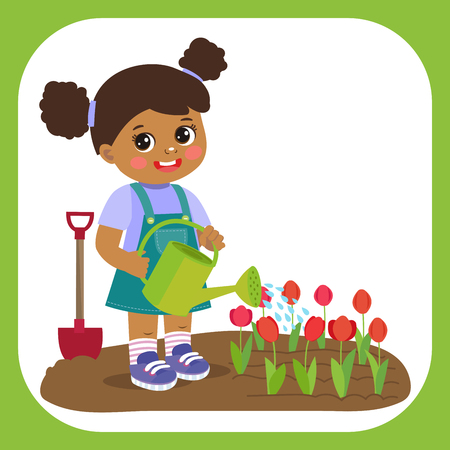 Cute Cartoon Afro American Girl With Watering Can Working In Garden. Young Farmer Girl Watering Tulip Flowers. Colorful Simple Design Vector. Spring Gardening Vector Illustration.