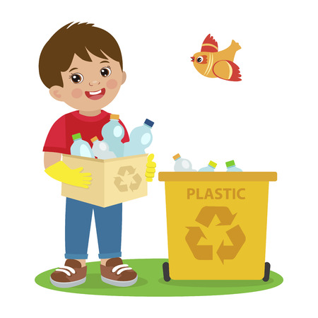 Kids Activities Vector. Ecology Theme Illustration. Boy Gathering Garbage And Plastic Waste For Recycling. Kid Picking Up Plastic Bottles Into Garbage. Waste Recycling For Reuse.  イラスト・ベクター素材
