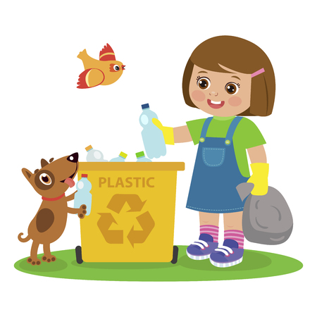 Cartoon Girl And Dog Gathering Garbage And Plastic Waste For Recycling. Kids Activities Vector. Ecology Theme Illustration. Kid Picking Up Plastic Bottles Into Garbage. Waste Recycling For Reuse.  イラスト・ベクター素材