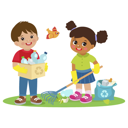 Children Collect Rubbish For Recycling Vector Illistration. Eco Education Vector. Boy And Girl Gathering Garbage And Plastic Waste For Recycling. Kids Help Save The World By Collecting Plastic Bottles