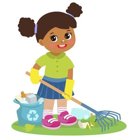 Cartoon Girl Cleaning And Raking Garbage Vector. Contributing Into Environment Preservation. Kids Who Protect Nature. Volunteer Kid, Ecology, Ecological Concept. Flat Character Vector Isolated On Whit