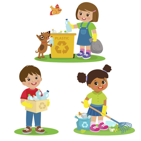 Vector Set Illustrations Kids Picking Up Plastic Bottles Into Garbage Bags. Children Cleaning Environment From Trash. Kids Collect Rubbish For Recycling. Eco Education Vector Illustration. Boy And Girl Volunteers. Illustration