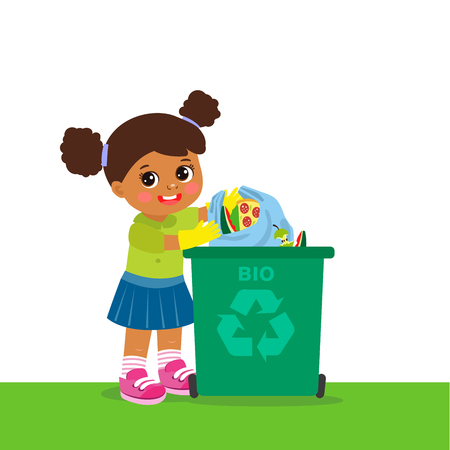 Young Girl Throwing Organic Waste In Recycle Bin. Waste Recycling. Environmental Protection. Eco Friendly, Concept Vector Illustration.