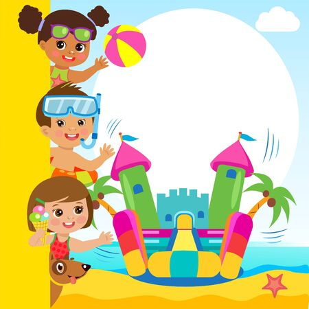 Cheerful Girl And Boy In Jumping Bouncy Castle. Summertime Template With Space For Text.