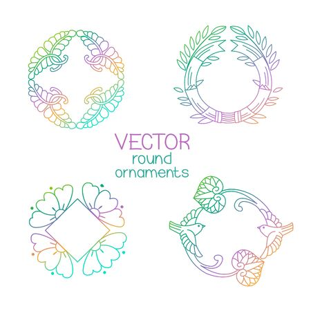 Vector Round Ornaments Collection Logo For Organic Shop, Eco Product, Cosmetic, Business. Company Mark, Emblem, Element. Nature Geometric Mandala Vector Logotype.