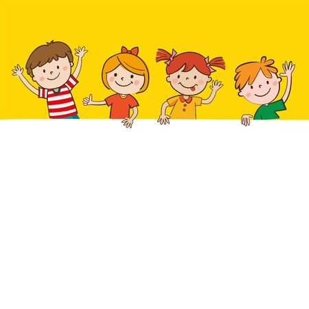 Cartoon Happy Children In Yellow Background Holding Blank Banner. Happy Kids And Banner Vector Illustration. Smiling Boys And Girls With Empty Poster.