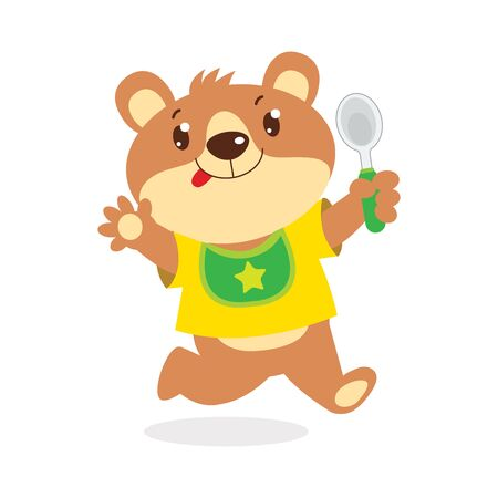 Happy Cartoon Baby Bear With Spoon Vector Illustration. Cute Funny Teddy Bear In Bib Isolated On White Background. Cute Animal Vector. Bear Feeding.