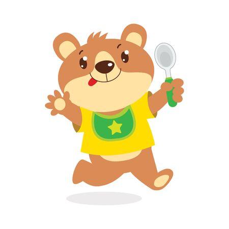 Oso de bebé de dibujos animados feliz con ilustración de Vector de cuchara. Lindo oso de peluche divertido en babero aislado sobre fondo blanco. Vector animal lindo. Alimentación de osos.