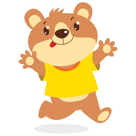 Happy Cartoon Bear Running Vector Illustration. Cute Funny Bear Wanting To Hug Isolated On White Background. Illustration
