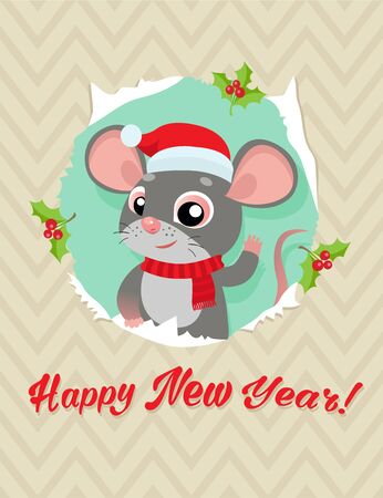 Rat Is A Symbol Of Chinese New Year. Funny Cartoon Mouse In The Hat Of Santa Claus. Greeting Card For Winter Celebrations. Funny Rat Looking Out Of Hole In Paper Card Vector Illustration.