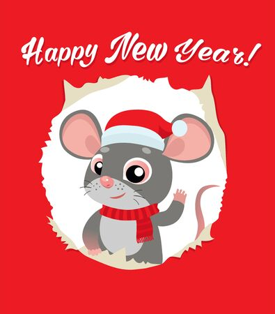 Rat Is A Symbol Of Chinese New Year 2020. Funny Cartoon Mouse In The Hat Of Santa Claus. Red Greeting Card For Winter Celebrations. Funny Rat Looking Out Of Hole In Paper Card Vector Illustration. Foto de archivo - 134918152