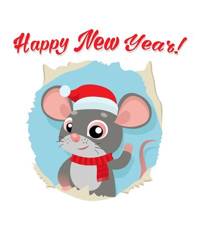 Rat Is A Symbol Of Chinese New Year 2020. Funny Cartoon Mouse In The Hat Of Santa Claus. Greeting Card For Winter Celebrations. Funny Rat Looking Out Of Hole In Paper Card Vector Illustration. Illusztráció