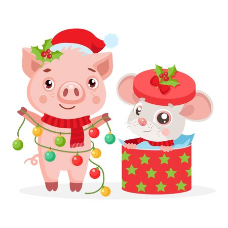 Christmas card with funny mouse, symbol of 2020 year and pig, symbol of 2019. Little Mouse with gift box. Kids Vector Cartoon style illustration.
