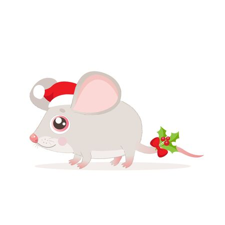 Cute And Funny Mouse In Santa Hat For Christmas Vector Illustration On A White Background. Cartoon Christmas Animal. Year Of The Rat. New Year Coming Soon.