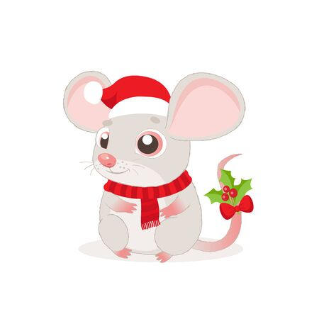 Cute And Funny Mouse In Santa Hat For Christmas Sitting And Smiling Vector Illustration. On A White Background. Cartoon Christmas Animal. Year Of The Rat. Foto de archivo - 134918157