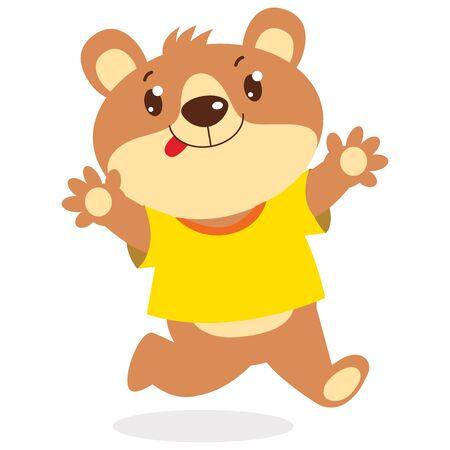 Happy Cartoon Bear Running Vector Illustration. Cute Funny Bear Wanting To Hug Isolated On White Background. Illusztráció