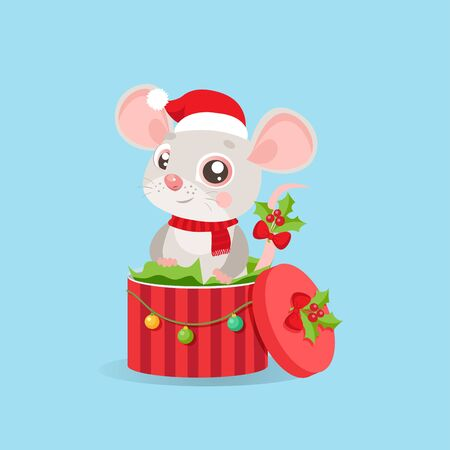 Funny Mouse In Santa Hat Sitting In Red Gift Present Box With Decorations And New Year Balls. Vector Illustration Cartoon Christmas Animal Card. The Character Of Cute Mouse.