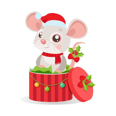 Funny Mouse In Santa Hat Sitting In Red Gift Present Box With Decorations And New Year Balls. Vector Illustration White Background. Cartoon Christmas Animal Card. Character Of Cute Mouse. Illusztráció