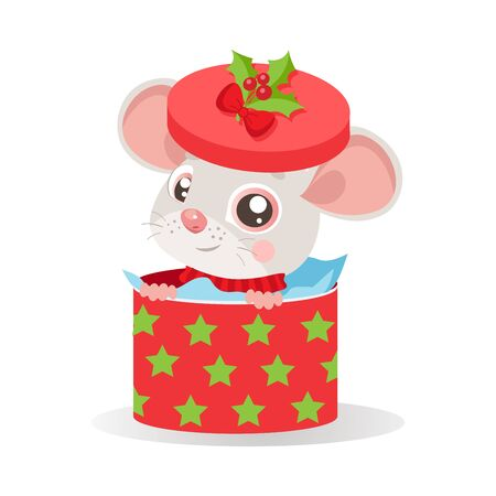 Funny Mouse In Santa Hat Sitting In Red Gift Present Box With Decorations And New Year Star. White Background Vector Illustration. Cartoon Christmas Animal Card. Year Of The Rat.