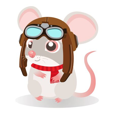 Funny cartoon mouse sitting in a retro leather aviator helmet on a white background. Kids Vector illustration. Rat Symbol of 2020 year by Chinese Horoscope. Illusztráció