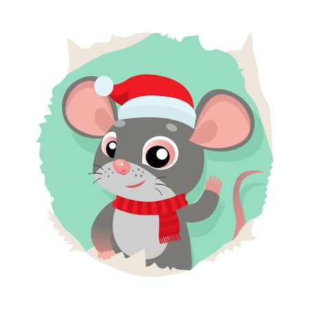 Rat Is A Symbol Of Chinese New Year. Funny Cartoon Mouse In The Hat Of Santa Claus. Funny Rat Looking Out Of Hole In Paper Card Vector Illustration.