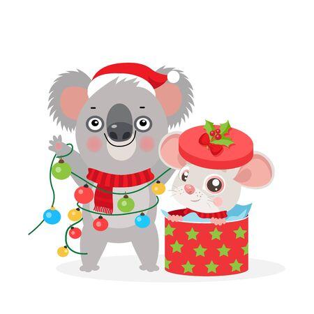 Koala Bear and Small Rat Kid. Christmas Card With Funny Rat And Koala. Little Mouse With Gift Box. Koala With Christmas Lights Garland. Merry Christmas Kids Vector Cartoon Style Illustration. Illusztráció