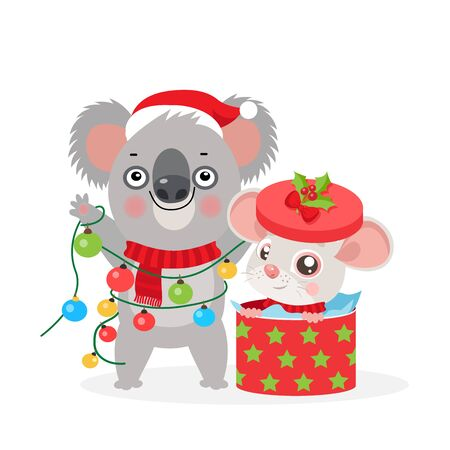 Koala Bear and Small Rat Kid. Christmas Card With Funny Rat And Koala. Little Mouse With Gift Box. Koala With Christmas Lights Garland. Merry Christmas Kids Vector Cartoon Style Illustration. Illustration