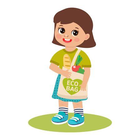 Funny little girl with reusable cotton bag vector illustration. Eco friendly lifestyle concept. Eco-friendly character. Save the planet. Vector template, flat design, zero waste. Illusztráció