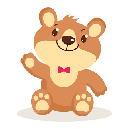 Cute cartoon teddy bear puppies sitting vector illustration. Little bear character isolated. Toy for girls. Small bear animal flat style icon vector illustration design.