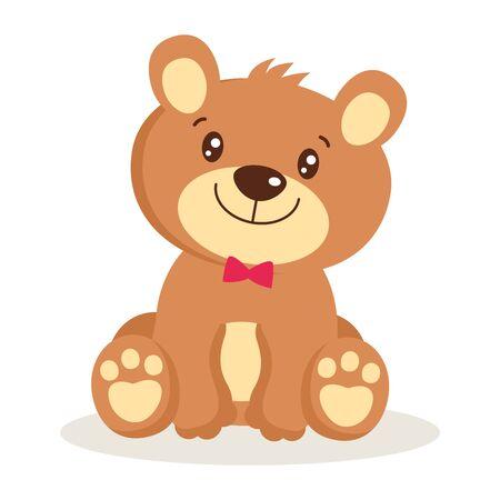Toy for girls. Cute cartoon teddy bear puppies sitting vector illustration. Little bear character isolated. Small bear animal flat style icon vector illustration design. Foto de archivo - 137887865