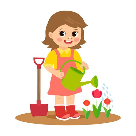 Linda chica de dibujos animados trabajando en la ilustración de vector de jardín. Niño plantar flores. Chica con vector de regadera. Jardinería de primavera. Primavera en tu paso.