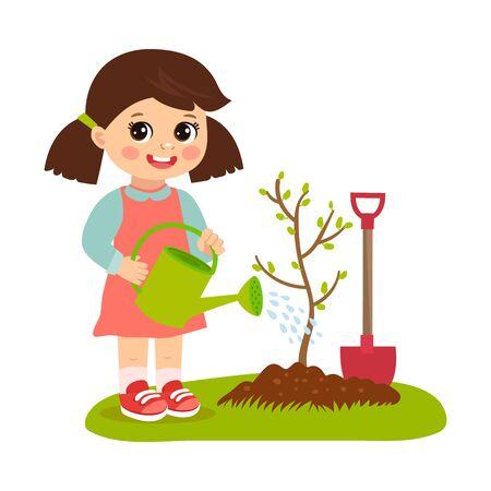Cute cartoon girl working in the garden vector illustration. Kid plant a tree. Girl with watering can vector. Spring gardening. Spring in your step. Illusztráció