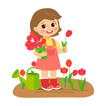 Cute cartoon girl with flower bouquet vector. Young farmer girl with tulip bouquet in the garden. Colorful simple design vector. Spring gardening vector illustration.