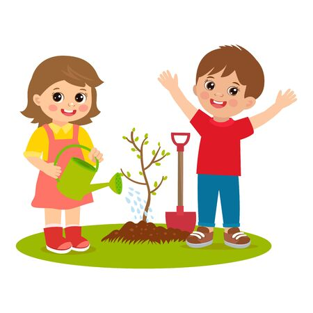 Cute cartoon kids working in the garden vector illustration. Kids plant a tree. Girl with watering can vector. Spring gardening. Spring in your step. Relaxed young man standing outdoors.