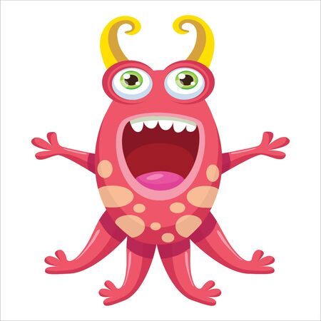 Cute Funny Monster Vector Illustration. Cartoon Mascot On A White Background. Design for print, party decoration, t-shirt, illustration, logo, emblem or sticker.