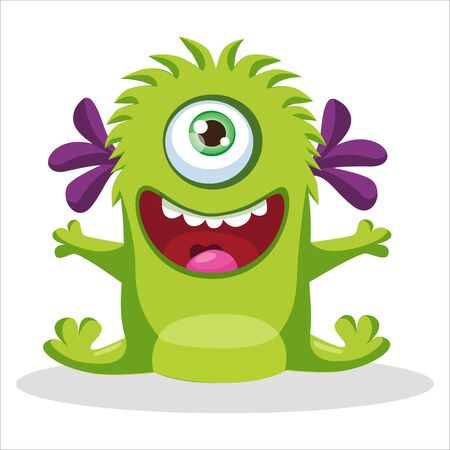 Cute Funny Green Monster With One Eye Vector Illustration. Cartoon Mascot On A White Background. Design For Print, Party Decoration, T-Shirt, Illustration, Logo, Emblem Or Sticker. 向量圖像