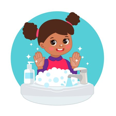 Cute Young afro american Girl washing hands in the sink illustration. Vector illustration Of Washing Hands with Antibacterial hand sanitizer, in cartoon flat illustration vector isolated in white background.