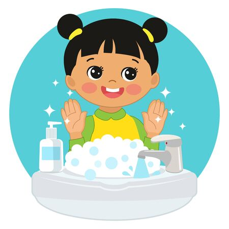 Cute Young China Girl washing hands in the sink illustration. Vector illustration Of Washing Hands with Antibacterial hand sanitizer, in cartoon flat illustration vector isolated in white background.