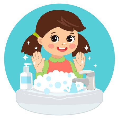 Cute Young Girl washing hands in the sink illustration. Vector illustration Of Washing Hands with Antibacterial hand sanitizer, in cartoon flat illustration vector isolated in white background.