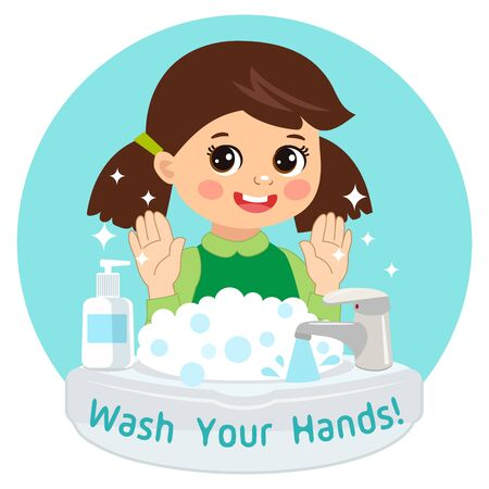 Cute Young Girl washing hands in the sink. Vector Illustration Of Washing Hands with Antibacterial hand sanitizer, in cartoon flat illustration vector isolated. Wash you hands banner for kids. Illusztráció