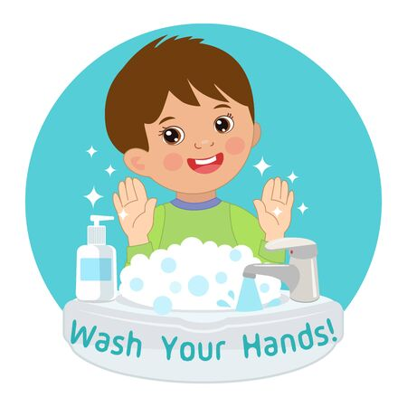 Cute Young Boy washing hands in the sink. Vector Illustration Of Washing Hands with Antibacterial hand sanitizer, in cartoon flat illustration vector isolated. Wash you hands banner for kids.