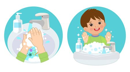 Dirty Hands, Clear Hands, Before And After. Hand Hygiene Vector Icons In The Circle. Wash You Hands Banner For Kids. Boy Washing Hands In The Sink. Vector Illustration Of Washing Hands With Soap.
