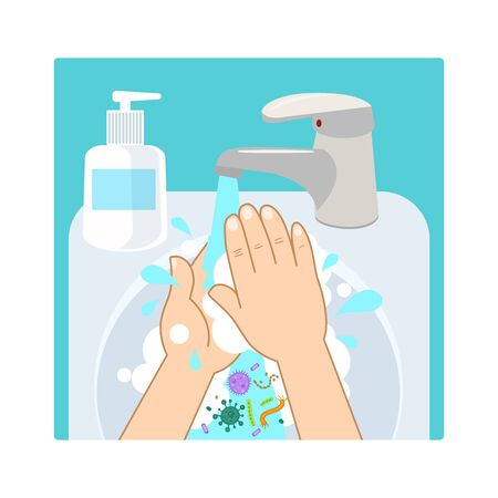 Wash Hand With Soap Or Antibacterial Hand Sanitizer. Washing Dirty Hands Guidance. Idea Of Healthcare. Isolated Flat Vector Illustration.