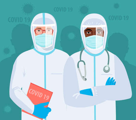 Multiracial medical team Doctors in protective clothes during coronavirus pandemic. Epidemic of coronavirus covid 19. Fighting and stop Spread of Covid-19 (corona virus) outbreak emergency concept flat vector illustrations.