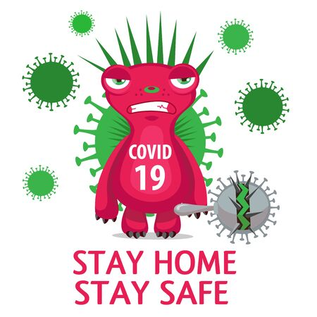 Coronavirus Character With Text Stay Home vector illustration.