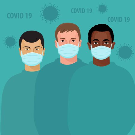 Multicultural group of people wearing medical masks. Protect yourself from virus infection. International corona virus protection and epidemic prevention vector illustration.